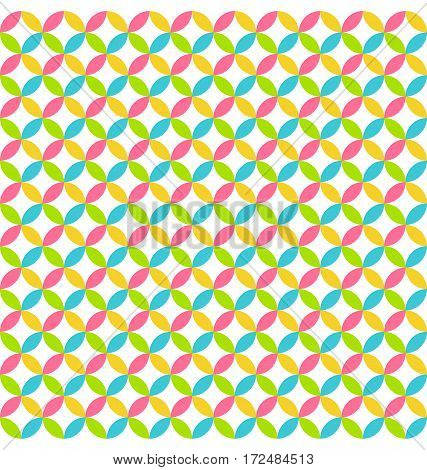 Bright fun abstract seamless pattern with multicolored circles