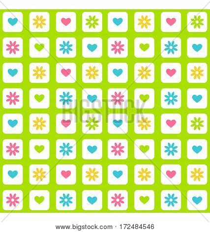 Seamless bright fun spring green abstract pattern with flowers