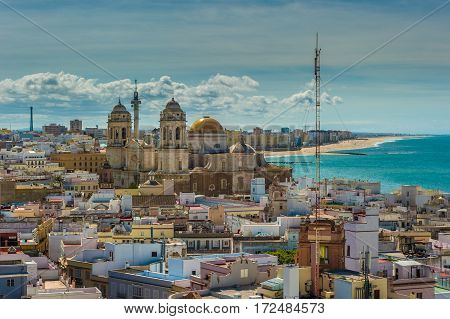 Highly detailed panoramic image of Cadiz Spain