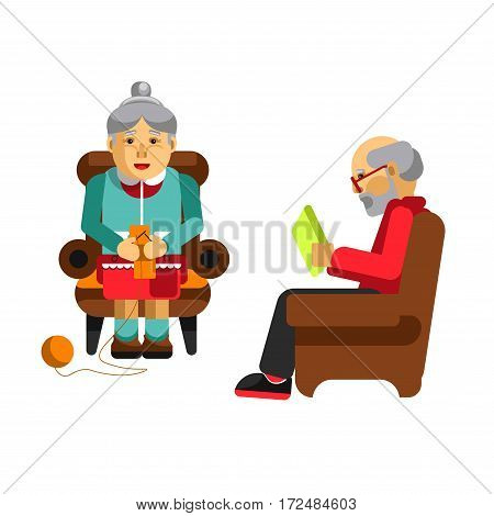Daily activities of grandparents. Grandmother knitting in armchair front view and grandfather sitting and reading newspaper. Having fun at home together. Vector illustration in cartoon design
