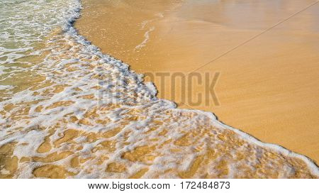 Wave Of The Sea On The Sand Beach