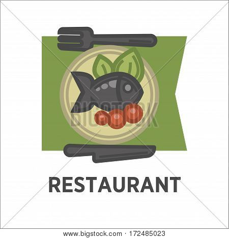 Restaurant dish banner. Fish with tomatoes and green salad leaves on the plate. Icon for fish dishes in cafe menu isolated on white. Fried fish with vegetables vector illustration logo in flat style