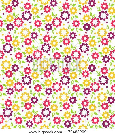 Bright Fun Abstract Seamless Pattern with Multicolor Flowers