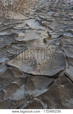 Clumps of dried mud form patterns in the desert