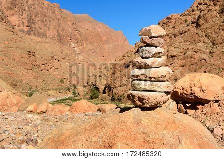 Stones Pyramid In Todgha Gorge. Morocco