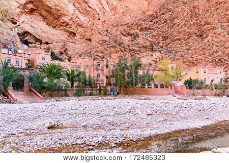 Tinghir Morocco - Jan 05 2017: Hotel in Todgha Gorge is canyon in Atlas Mountains near Tinghir city