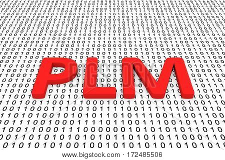 plm in the form of binary code, 3D illustration