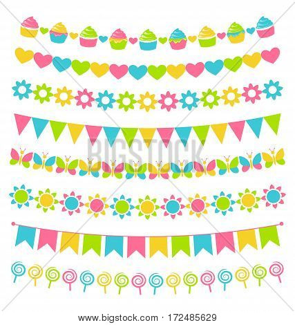 Set of multicolored flat buntings garlands flags isolated on white background
