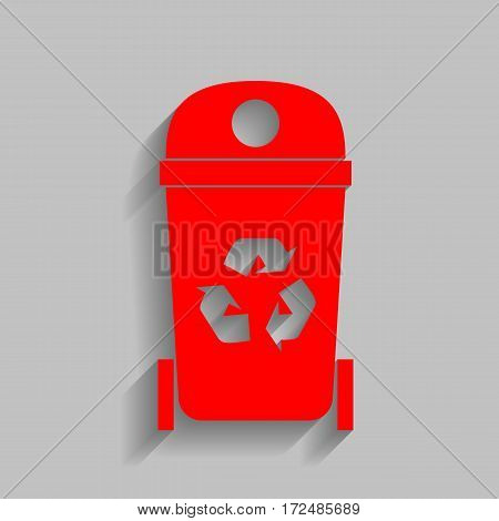Trashcan sign illustration. Vector. Red icon with soft shadow on gray background.