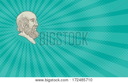 Business card showing Mono line style illustration of the Greek philosopher Plato head viewed from the side.