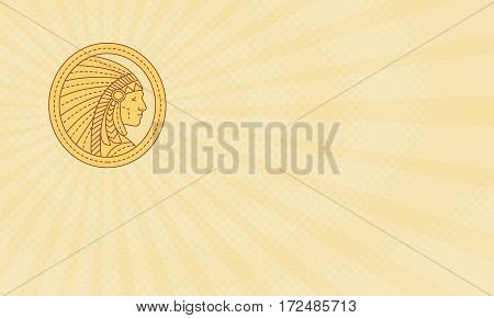 Business card showing Mono line style illustration of a native american indian chief wearing feather headdress viewed from the side set inside circle.