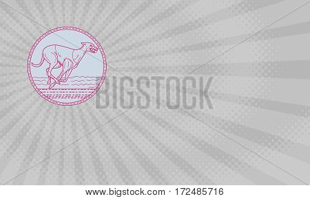 Business card showing Mono line style illustration of a greyhound dog racing viewed from the side set inside circle.