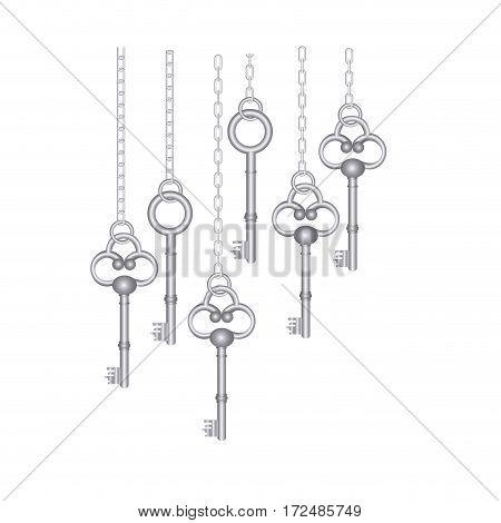 silver old keys hanging icon , vector illustration image design