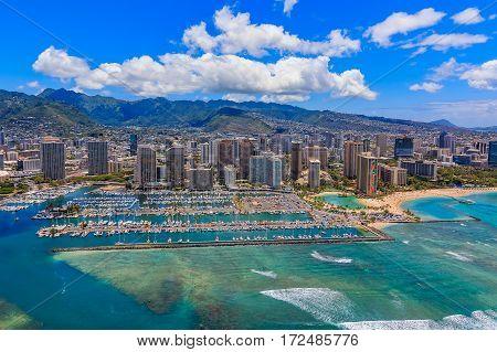 Aerial View Of Waikiki Beach In Honolulu Hawaii