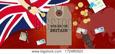 made in UK United Kingdom England Britain stamp price tg flag world map transaction export money vector