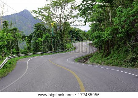 Curve way of asphalt road in the green nature.