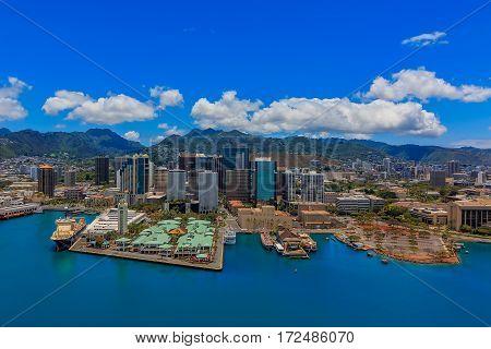 Aerial View Of Downtown Honolulu Hawaii
