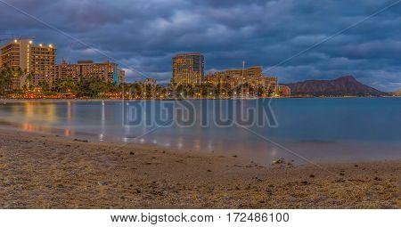 Waikiki Beach And  Diamond Head In Honolulu In Hawaii At Sunset