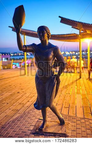 Torrevieja, Spain - July 28, 2015: Monument to the fisherman's wife