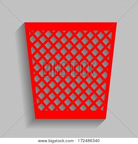 Trash sign illustration. Vector. Red icon with soft shadow on gray background.