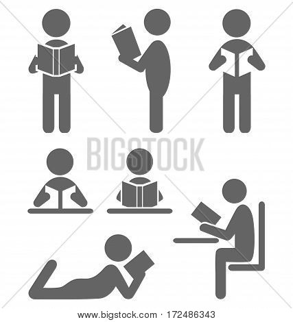 Read book people flat icons isolated on white background