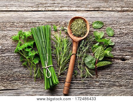 Herbs on a wooden board