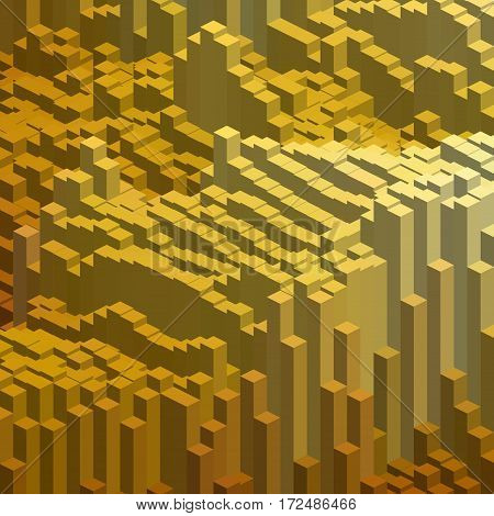 Abstract Background With Yellow Cube Decoration. Vector Illustration