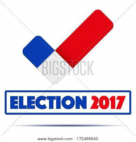 Symbol of Election 2017 in France. Check mark symbol in the form of French flag. Editable Vector illustration Isolated on white background.