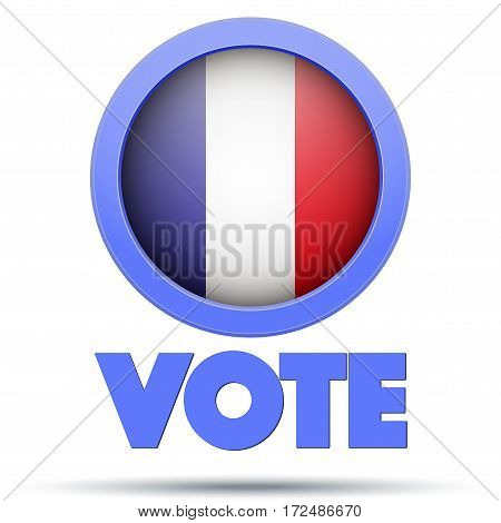 Circle Symbol of Election 2017 in France. French flag in Frame. Editable Vector illustration Isolated on white background.