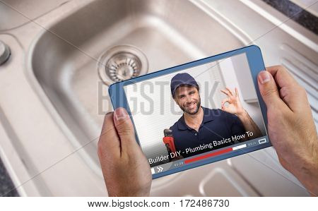 Fast forward sign on digitally generated blank screen against cropped image of person holding tablet