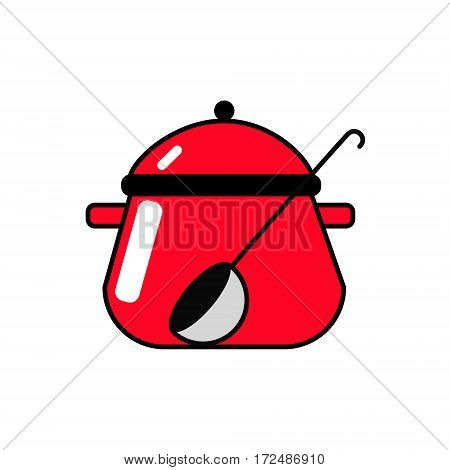 Red pan with a ladle. Vector Linear flat