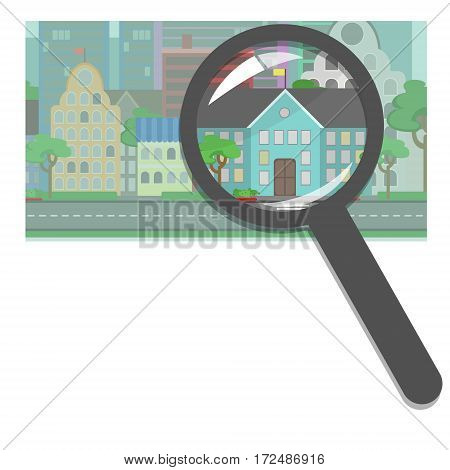 Buying and selling real estate real estate agency. Public property public buildings schools hospitals offices search for the right property. Concept vector flat