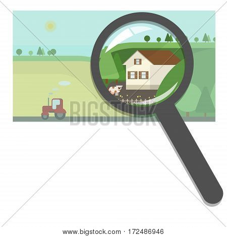 Buying and selling real estate real estate agency. Farm and country houses searching for the right property. Concept vector flat