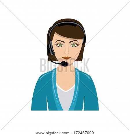 color people woman technological services icon, vector illustration design