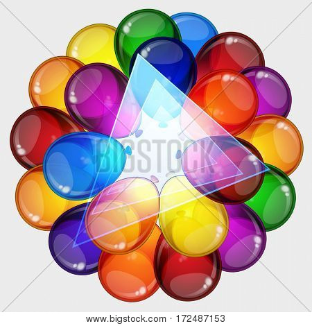 Birthday party background - colorful festive balloons flying for celebrations card in isolated white background with space for you text.
