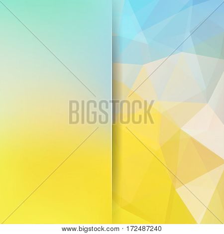 Abstract Background Consisting Of Yellow, White, Blue Triangles. Geometric Design For Business Prese