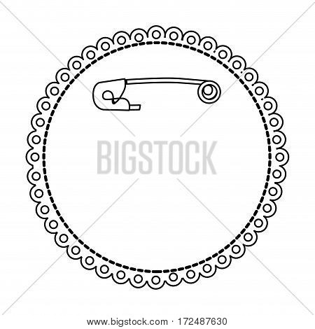 figure safety pin inside crochet icon, vector illustration design