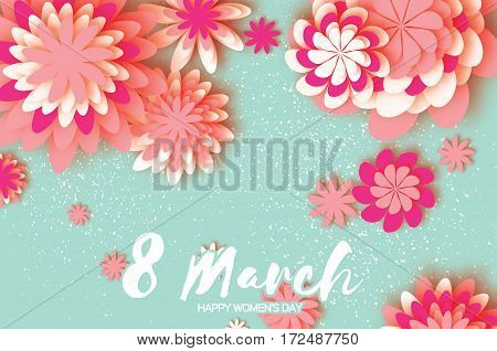 Pink Colorful Paper Cut Flower. 8 March. Women's Day Greeting card. Origami Floral bouquet. Space for text on blue background.Happy Mother's Day. Vector Spring illustration