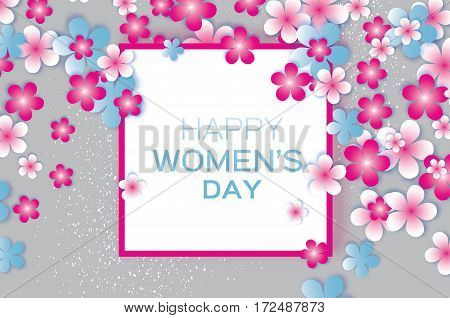 Sakura Blossom Paper Cut flower. 8 March. Women's Day Greeting card. Origami Floral bouquet. Square frame. Space for text. Happy Mother's Day. Vector Spring illustration