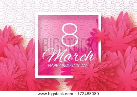 Pink Paper Cut flower. 8 March. Women's Day Greeting card. Origami Floral bouquet. Rectangle frame. Space for text.Happy Mother's Day. Circle background. Vector Spring illustration