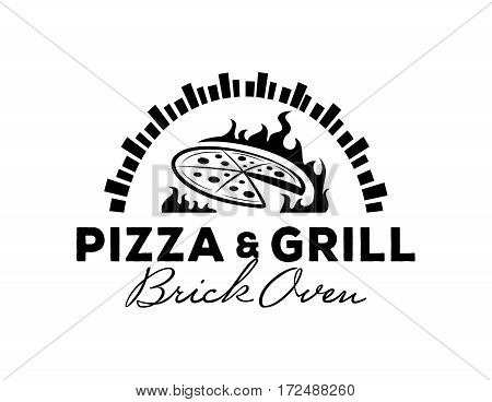 pizza & grill logo with hot brick oven