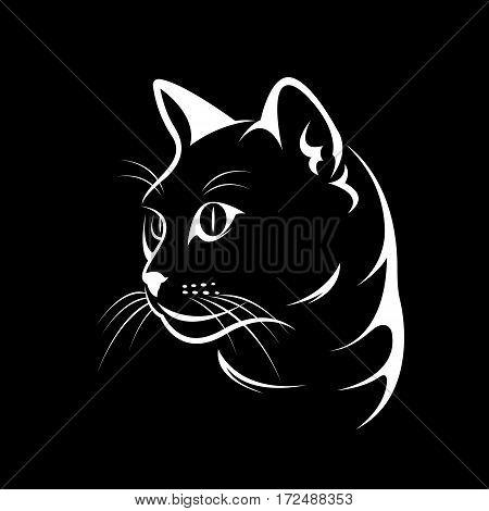 Vector of a cat face design on black background Vector illustration. Pet