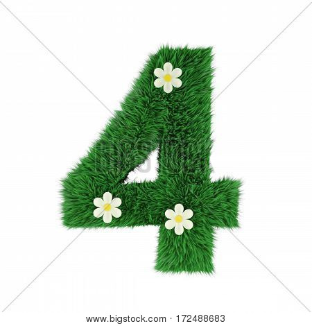 grass letter 4 isolated on white. 3d rendering