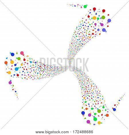 Electric Bulb fireworks swirl rotation. Vector illustration style is flat bright multicolored iconic symbols on a white background. Object twirl combined from random symbols.