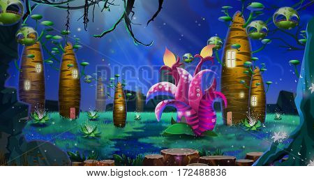 A Cluster of Strange Tree Houses inside the Deep Forest. Video Game's Digital CG Artwork, Concept Illustration, Realistic Cartoon Style Background