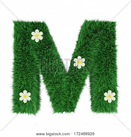 grass letter M isolated on white. 3d rendering