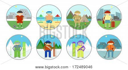 Set stickers badges. Tourism and leisure summer and winter kinds of sport on holiday. Vector sign icon
