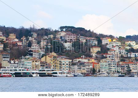 View Of Istanbul And Bosphorus, Turkey. Sea Front Town Houses