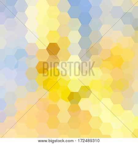 Abstract Background Consisting Of Yellow, Blue Hexagons. Geometric Design For Business Presentations