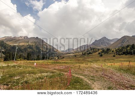 Shymbulak Ski Resort At Early Autumn Time. Cableway In The Mountains, Almaty, Kazakhstan